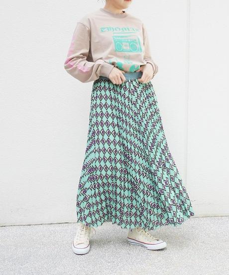 print pleats skirt【211603】