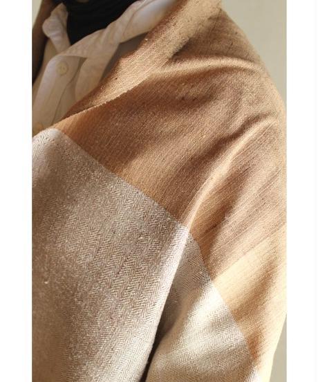 灰白×ハチミツ色 大格子 (品番1802-02)
