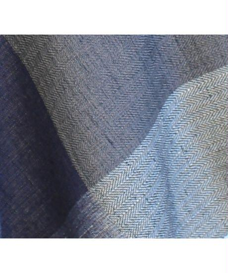 藍×黒×グレー 綾織大格子 (品番:1511-01)