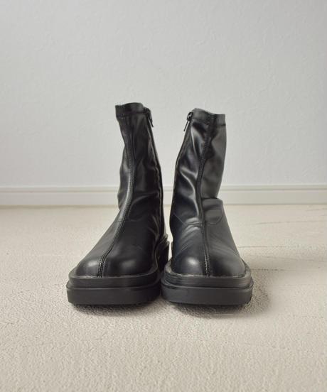 (ブラック) 厚底ラグソールストレッチブーツ 1157