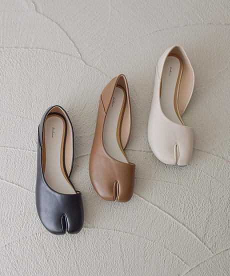 (アイボリー) とっても柔らかい 足袋カットパンプス 106-8