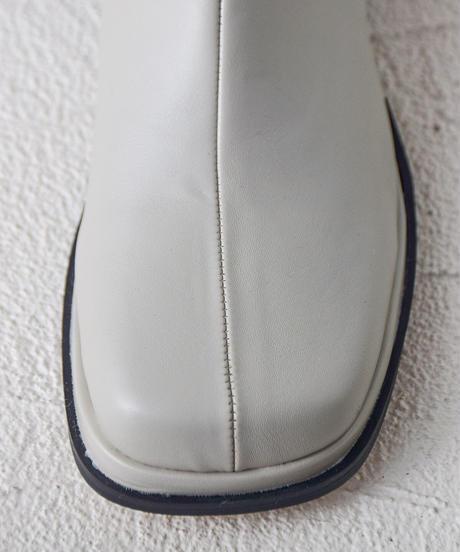 スクエアトゥロングブーツ ライトグレー9988-1