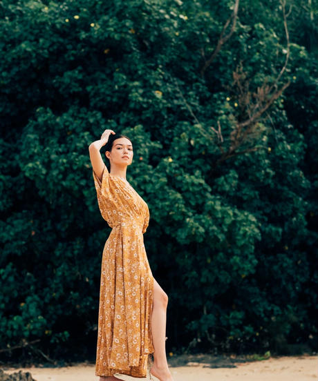 THE FLOWERS IN THE SUN /Wrap Maxi Dress
