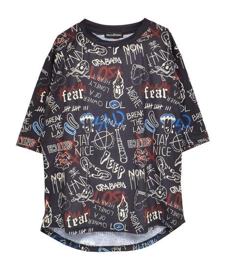 【ヘルキャットパンクス】総柄Tシャツ【HCP-T-0125】