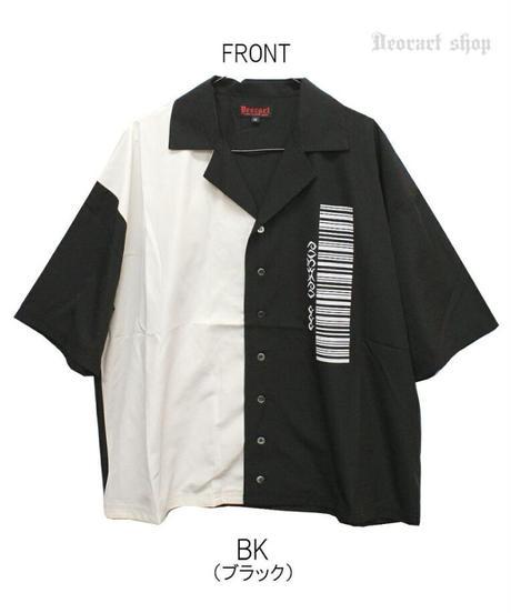 《Deorart》ワイドシルエット 2トーンカラー 開襟シャツ 五分袖 [Butterfly]  DRT2563