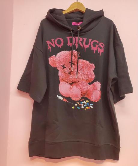《Amilige》 NO!DRUG!半袖BIG パーカー8111263006