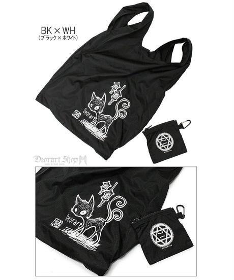 《Deorart》ファスナーポーチ付 エコ トートバッグ (ネコマタ 猫叉) DRT2520