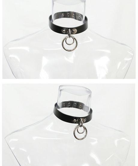 Deorart  BY1019 Ring design choker 2連 リング チョーカー パンク/シドリング/首輪