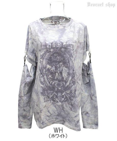 Deorart  DRT2567 ムラ染め タイダイ 袖セパレート アームカバー付 Tシャツ [Gothic]