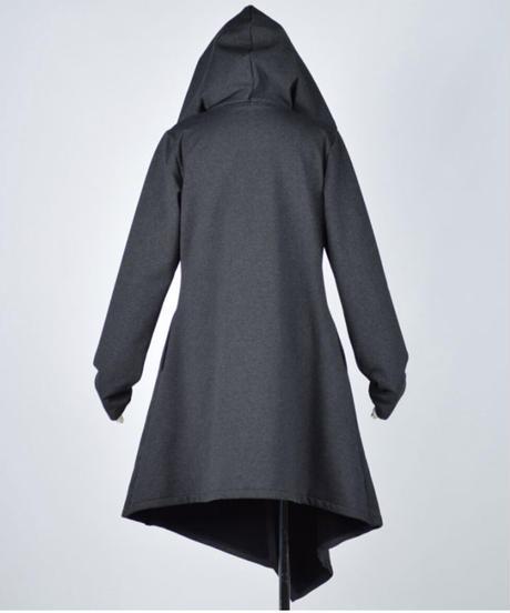 h.NAOTO Asymmetric Long Hoodie