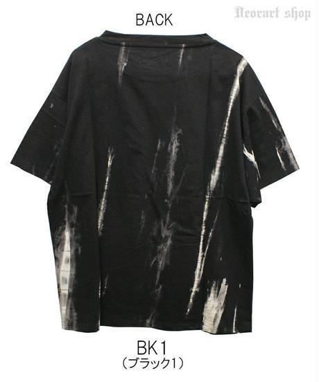 Deorart  DRT2566 ムラ染め タイダイ オーバーサイズ プリント Tシャツ [one wing] 羽根 片翼