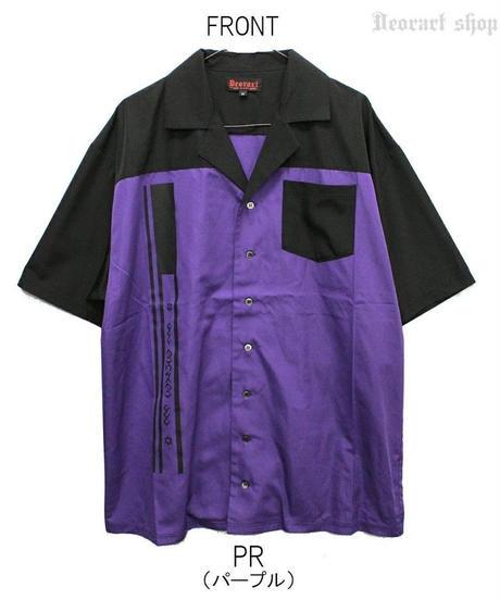 Deorart  DRT2562 切替 バイカラー ロング丈 開襟シャツ 五分袖 [icon] ゴシック・ロック・パンク