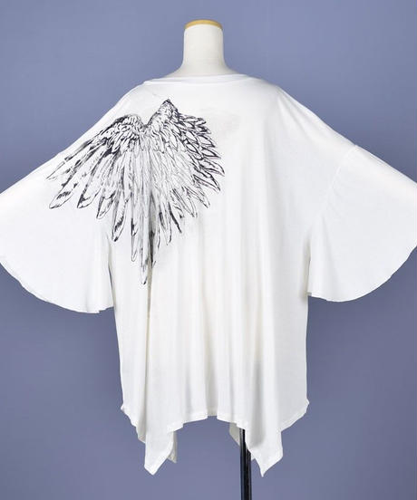 h.NAOTO Angel Wings Super Size Tunic  WHITE-BLACK