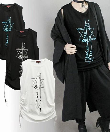 Deorart  DRT2558 アジャスター ロング丈 ノースリーブ [百目鬼] 目玉・オカルト・幾何学模様