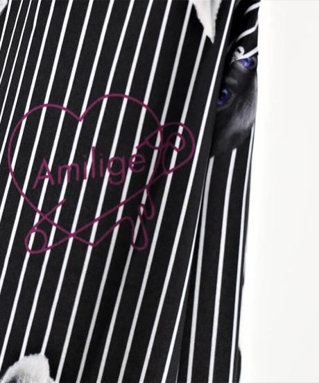 Amilige  ネクタイ付きCAT総柄ストライプシャツ 販売元