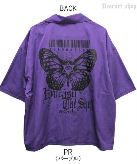 Deorart  DRT2563 ワイドシルエット 2トーンカラー 開襟シャツ 五分袖 [Butterfly] ゴシック・蝶々・バタフライ