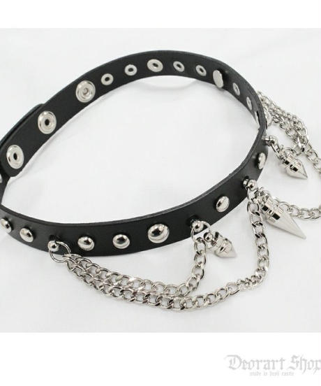 Deorart  BY2094 Spike 2chain choker スパイク/ニードル 2連チェーン