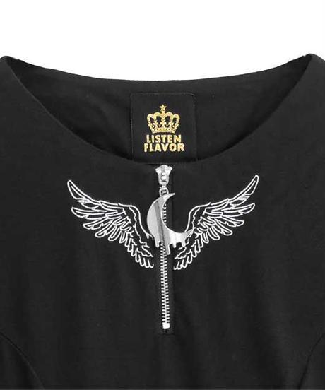 LISTEN FLAVOR 2113530  天使の翼オープンショルダーレースアップワンピ