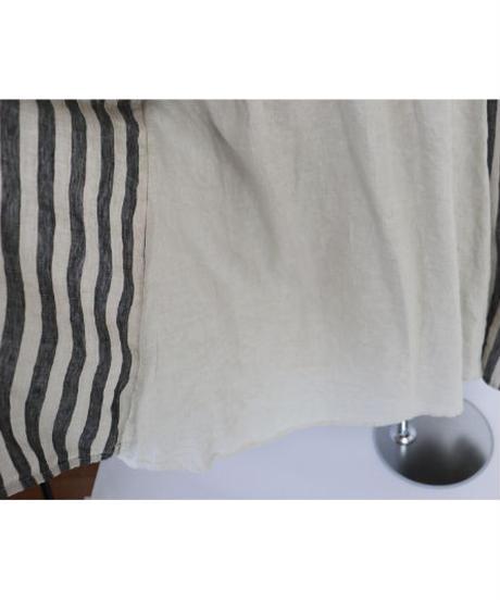 リネン ウエストギャザー 裏付2ウェイ ラップスカート ストライプ/ブロックチエック ○ub-0098