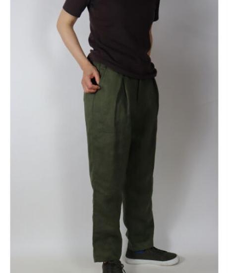 リネン無地 裏付テパードパンツ 3色 ○ub21-0206