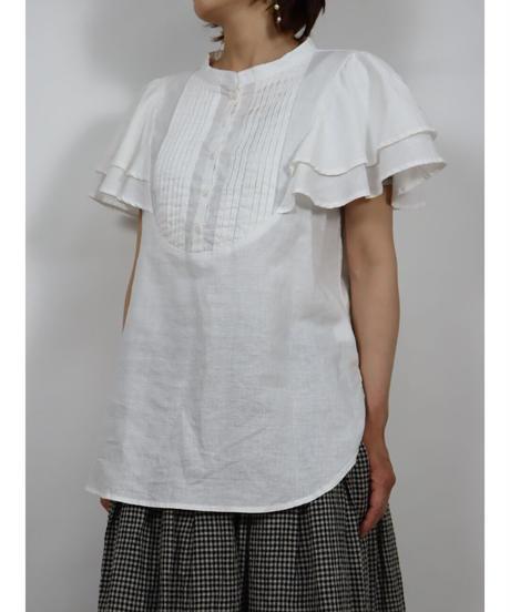 生地洗いリネン  バンドカラー胸元ピンタック・U字切フリル袖ブラウス 2color  〇ub-0184