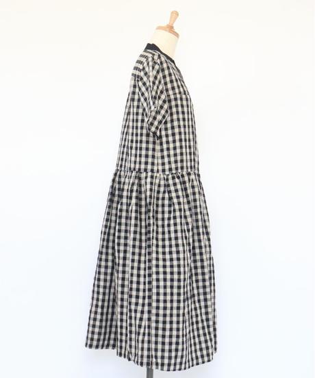 リネン/コットン 先染格子 バンドカラー ウエストギャザー 半袖ワンピース 3color ○ub-0121