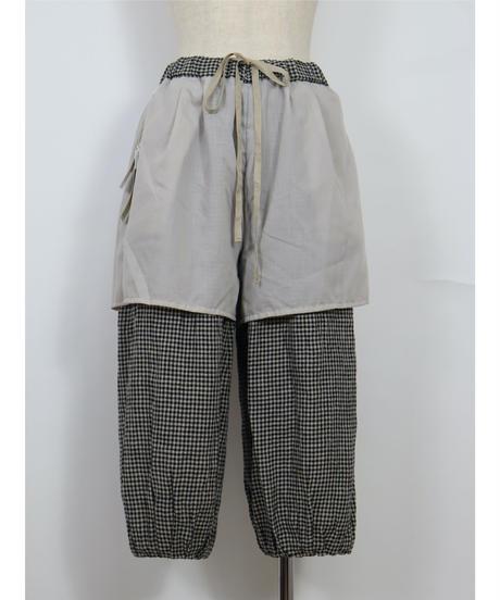 先染リネン 裾ピンタックパンツ ub21-0205