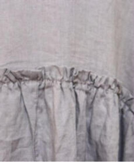 生地洗いリネン14番手  胸元多数ピンタック・胸切替フリルコクーン半袖ワンピース 3color  〇ub-0183