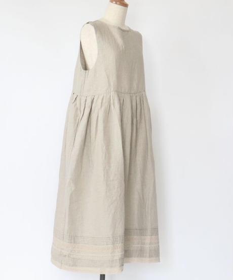 アンティーク リネン くるみ釦 裾ピンタック・レース使い 2ウェイ ワンピース 2color ○ub-0123