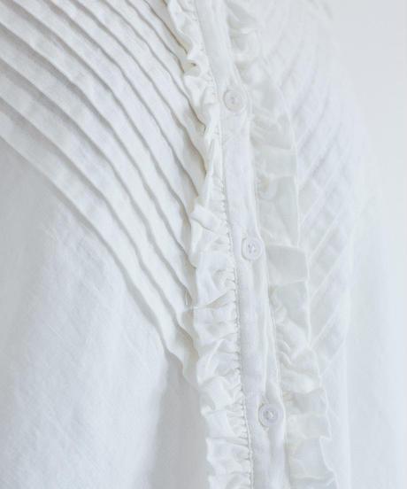 生地洗い リネン  ピンタック・フリル 変形プルオーバー 3color ○ub-0091