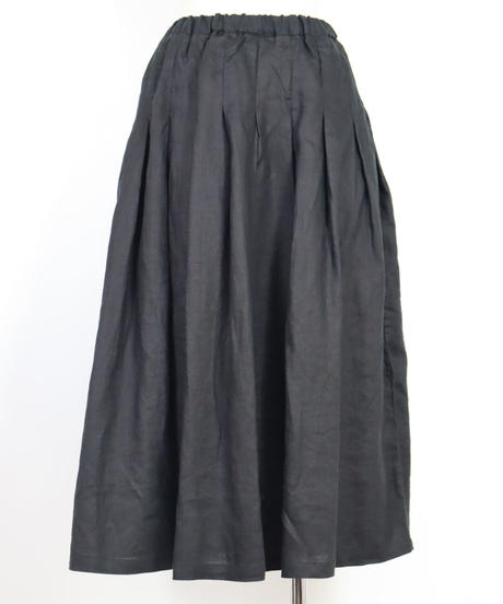 リネン 83cm丈  裏付タックスカート ○ub-0201
