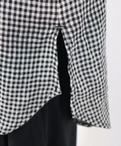 生地洗いリネン  バンドカラー胸元ピンタック・U字切替フリル袖ブラウス ギンガム  〇ub-0184