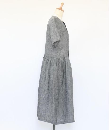 リネン 先染シャンブレー バンドカラー ウエストギャザー 半袖ワンピース 2color ○ub-0121