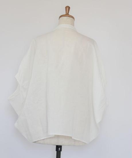 リネン バンドカラーW胡桃釦 プルオーバーブラウス   3color ○ub-0125