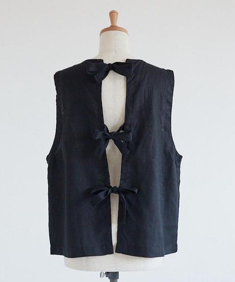 リネン胸元ピンタック 後ろリボンベスト           <再販>○ub-0010