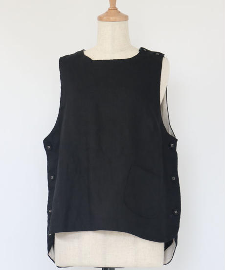 リネン 肩線・両脇 共地釦 裏当布 ベスト 黒色 ○ub-0122