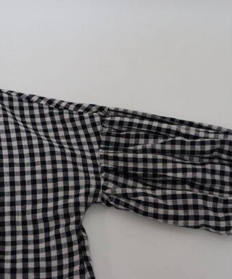 リネンストライプ リネン/コットン黒格子    バンドカラーパフスリーブブラウス 〇ub-0139
