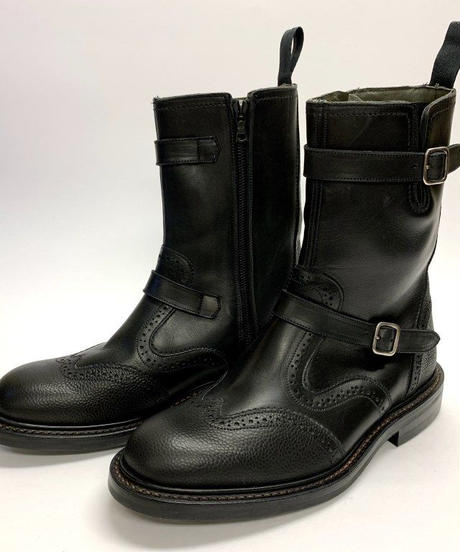 19.45 Rejected Tricker's / Black × Black Grain  / Side Zip Boots with Strap / Dinite W Sole / Size 8