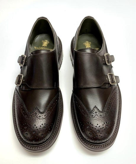 19.29 Rejected Tricker's / Brown  × Grain / W Monk Shoes / Commando W  Sole