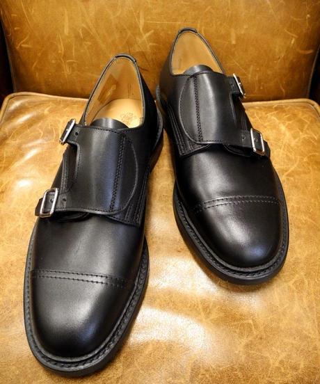 18.53 Rejected Tricker's / Black / Double Monk Shoes / Dainite Sole / Size 7 half