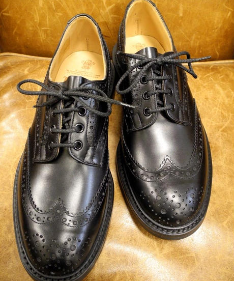 18.22 Rejected Tricker's / Black / Country Brogue Shoes / Dainite W Sole / Size 8 half