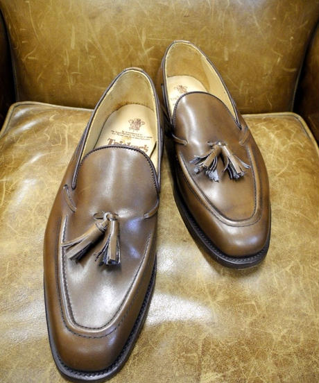 18.51 Rejected Tricker's / Brown / Tassel Slip On Shoes / Leather Sole