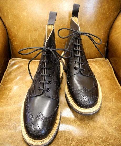 18.04 Rejected Tricker's / Espresso / Country Brogue Boots / Command W Sole / Size 8