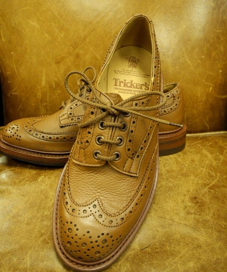 18.19 Rejected Tricker's / Brown / Country Brogue Shoes / Dainite W Sole / Size 7 half