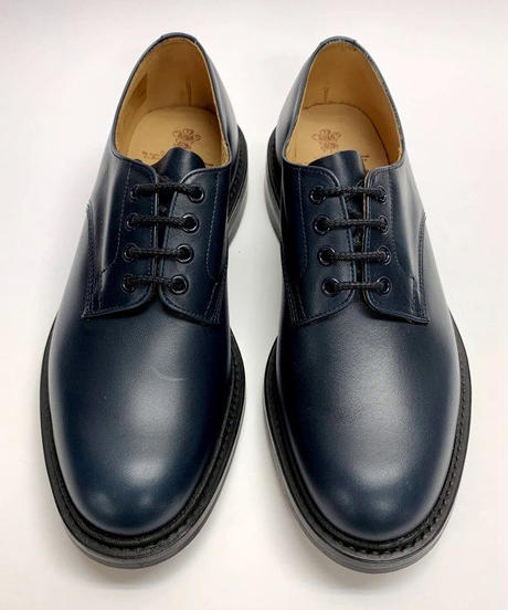 19.54 Rejected Tricker's / Navy / Plain Toe Country Shoes / Dainite W Sole / Size 8H