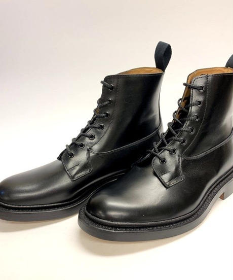 19.59 Rejected Tricker's / Black / Plain Toe Country Boots / Leather W Sole / Size 7H