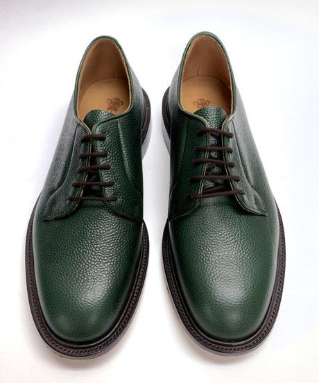 19.40 Rejected Tricker's / Green Grain / Plain Toe Derby / Leather Sole / Size 8