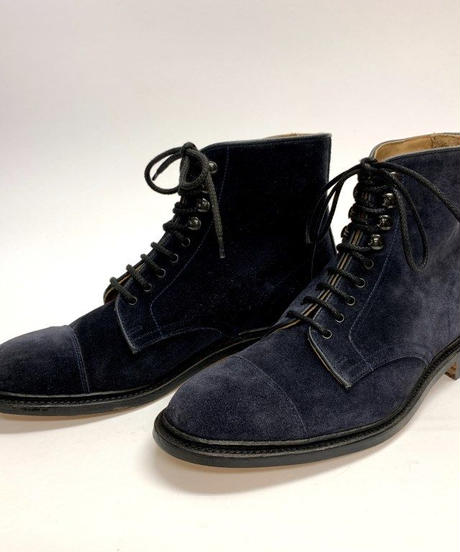 19.70 Rejected Tricker's / Dark Navy Suede / Unlining Lace Up Boots / Leather Sole / Size 8