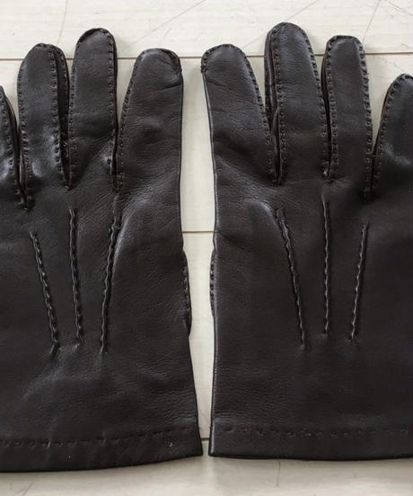 Chester Jefferies / Dark Brown Hair Sheep Unlined Gloves / Size 8 /  Secondhand