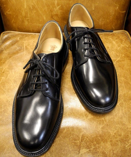 18.65 Rejected Tricker's / Black Cordovan / Plain Toe Shoes / Leather Sole / Size 8